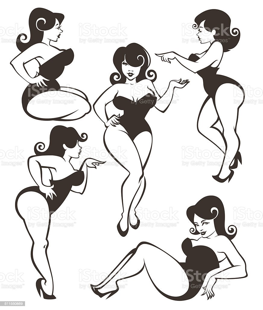 vector collection of plus size pin up girls vector art illustration
