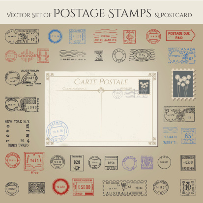 Vector collection of postage stamps and postcard
