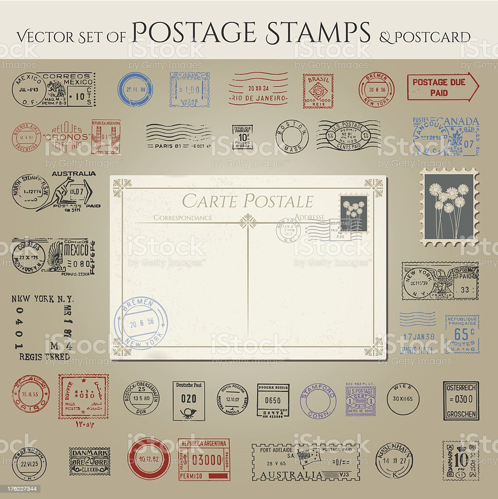 Vector collection of postage stamps and postcard vector art illustration