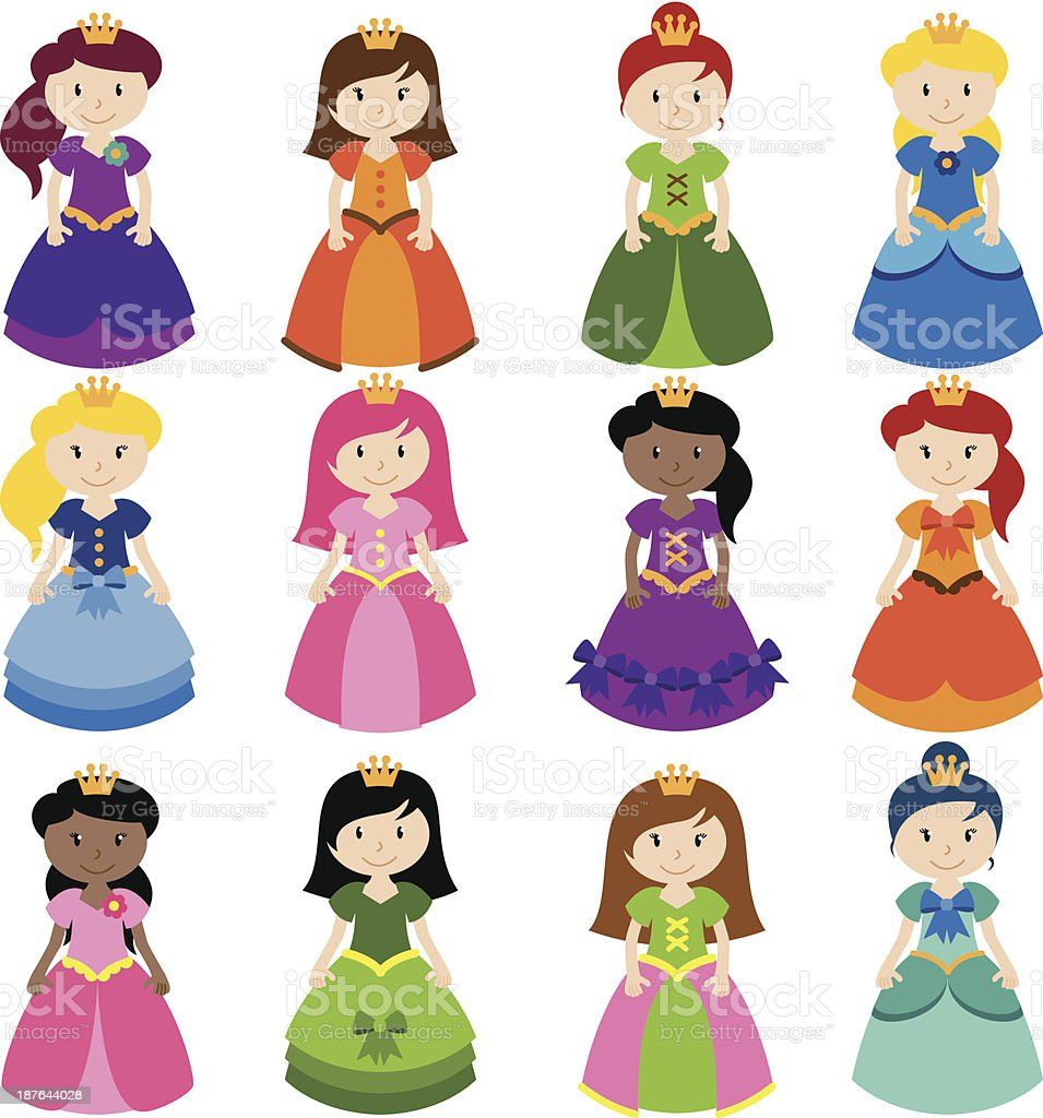 Vector Collection of Pretty Princesses vector art illustration