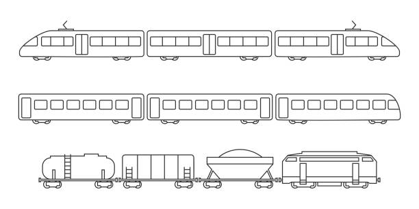 illustrations, cliparts, dessins animés et icônes de collection de vecteur des silhouettes de transport ferroviaire - train