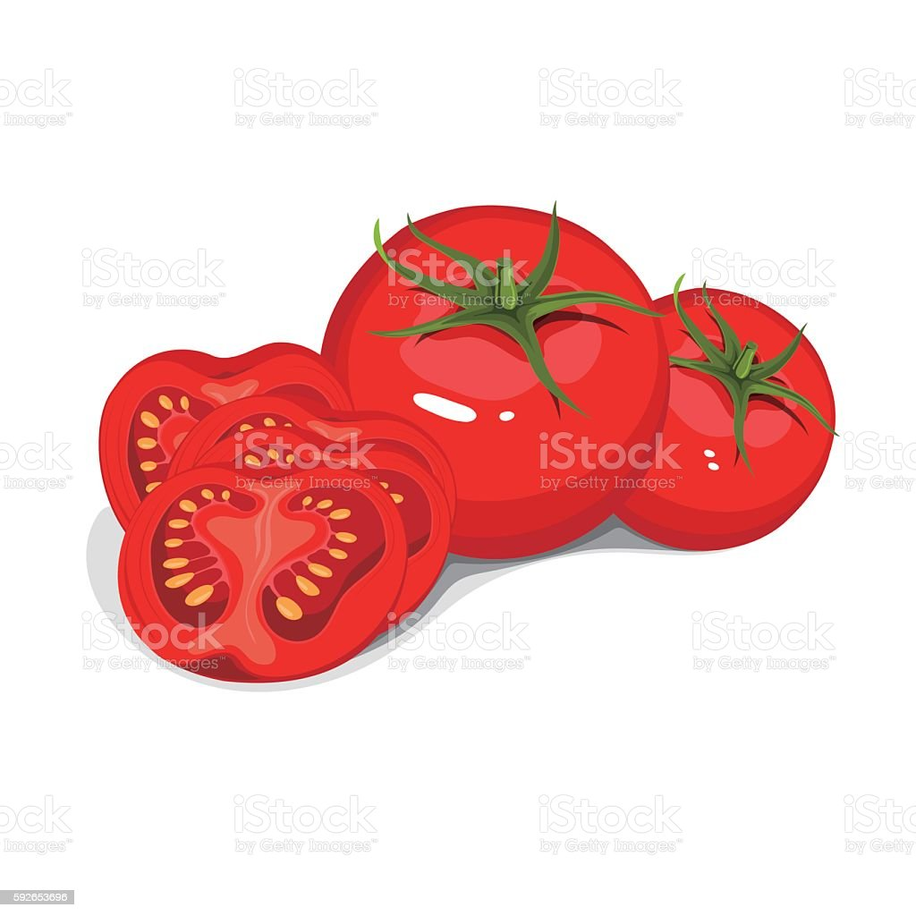Vector collection of red ripe tomatoes vector art illustration