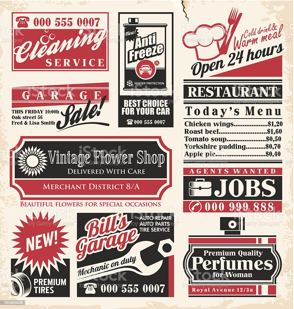 Vector collection of retro press ads vector art illustration
