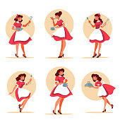 vector collection of retro waitress holding a plate plate,pot, spoon  illustrations in cartoon style for your logo, label, emblem