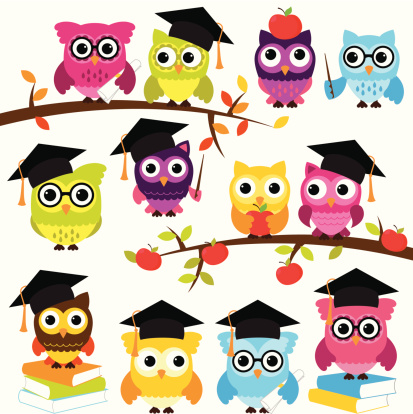 Vector Collection of School or Graduation Themed Owls. No transparencies or gradients used. Large JPG included. Each element is individually grouped for easy editing.