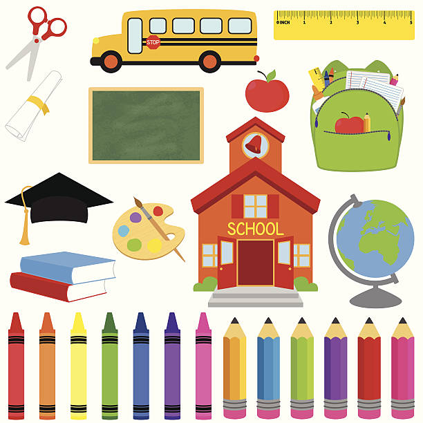 vector collection of school supplies and images - primary school stock illustrations, clip art, cartoons, & icons