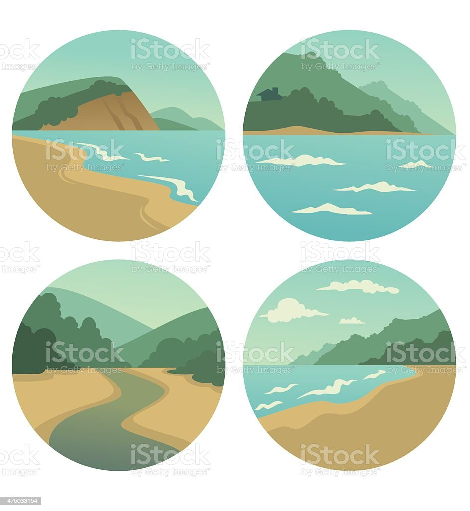 vector collection of sea summer landscape symbols vector art illustration