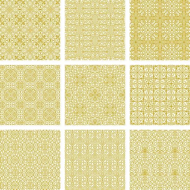vector collection of seamless oriental gold ornaments on white background. samples in swatches palette - arab stock illustrations