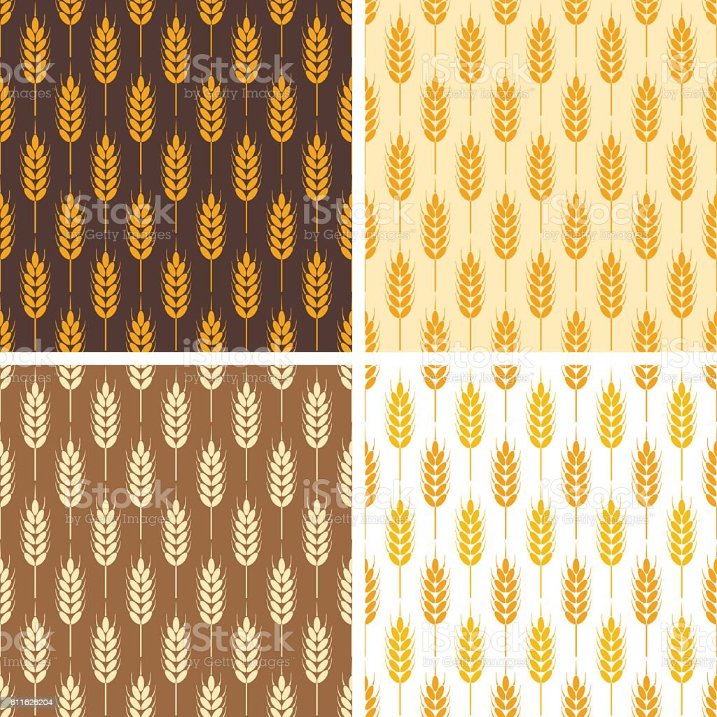 vector collection of seamless repeating wheat patterns vector art illustration