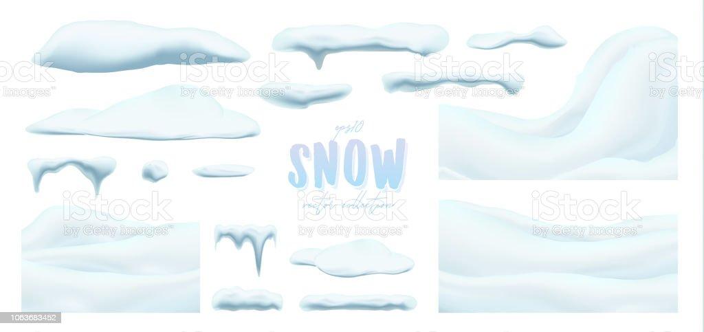 Raccolta vettoriale di tappi di neve, pila, ghiaccioli, isolati su sfondo, trasparenti. - arte vettoriale royalty-free di Ambiente