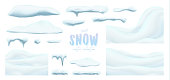 Vector collection of snow caps, pile, icicles, isolated on background, transparent, ice, snowball and snowdrift. 3d Winter decorations, Christmas, snow texture, white elements, holiday design, vector snow.