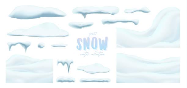 ilustraciones, imágenes clip art, dibujos animados e iconos de stock de colección de vector de nieve tapas, pila, carámbanos, aislados sobre fondo transparente. - nieve