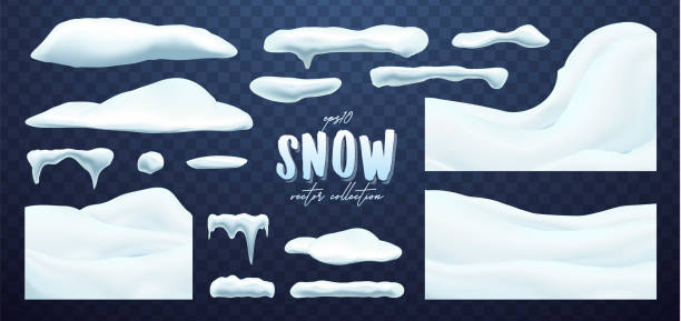 Vector collection of snow caps, pile, icicles, isolated on background, transparent. Vector collection of snow caps, pile, icicles, isolated on background, transparent, ice, snowball and snowdrift. 3d Winter decorations, Christmas, snow texture, white elements, holiday design, vector snow. snowdrift stock illustrations