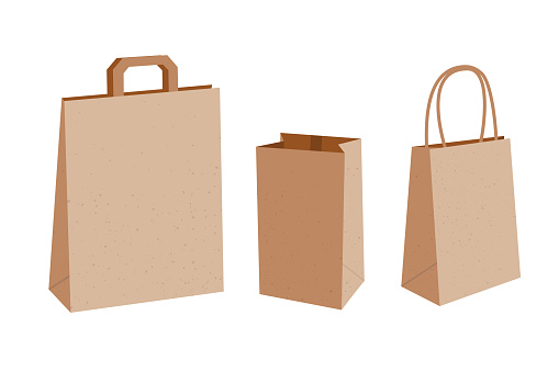 Vector collection of three empty paper bags with handles and without.  Kraft package illustration isolated on white background.
