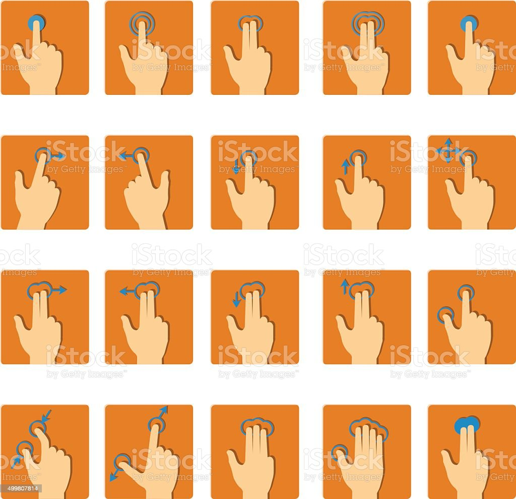 Vector collection of touch screen gesture icons in flat design vector art illustration