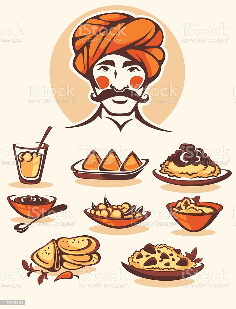 Vector collection of traditional indian food and chef for Art of indian cuisine