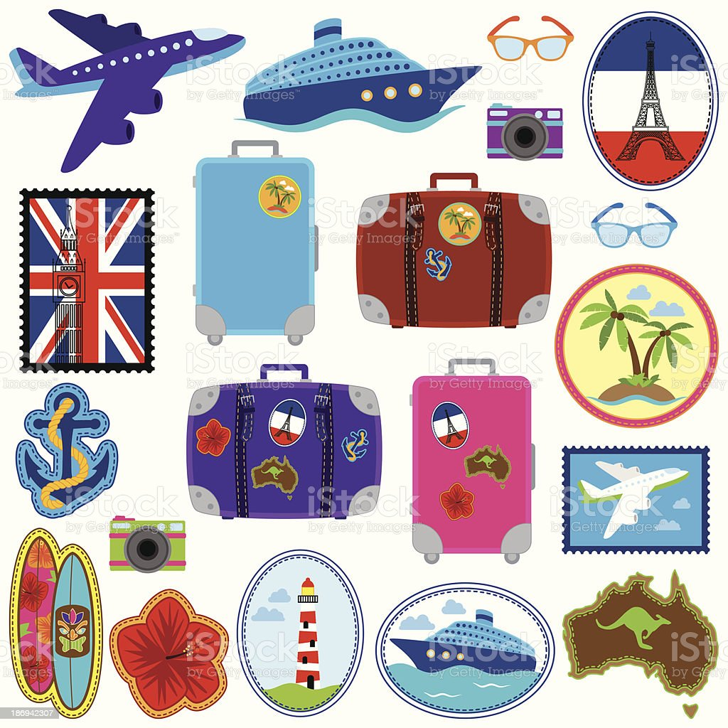 Vector Collection of Travel Stickers, Stamps, Badges and Elements royalty-free stock vector art