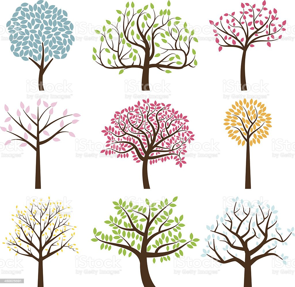Vector Collection of Tree Silhouettes vector art illustration