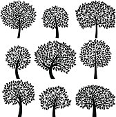 Vector Collection of Tree Silhouettes