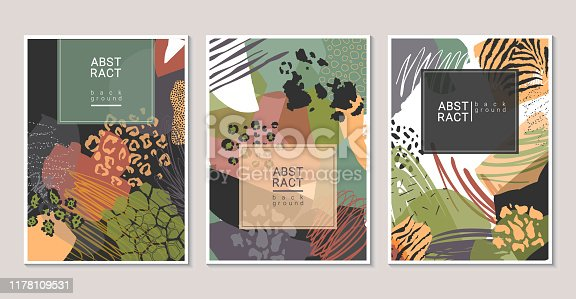 Vector collection of trendy creative collage cards with cut paper, animal skin zebra, leopard, jaguar, giraffe, cow and different textures. Design for poster, card, invitation, placard, brochure.