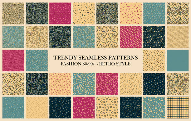 Vector collection of trendy seamless patterns. Retro design - fashion 80-90s. Color textures - endless backgrounds Vector collection of trendy seamless patterns. Retro design - fashion 80-90s. Color textures - endless backgrounds. fabric swatch stock illustrations