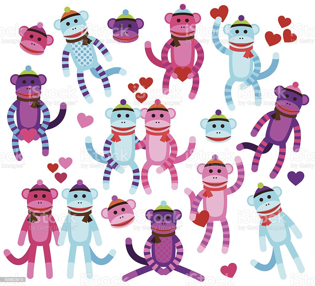 Collection de Vector de la Saint-Valentin sur le thème chaussettes singes - Illustration vectorielle