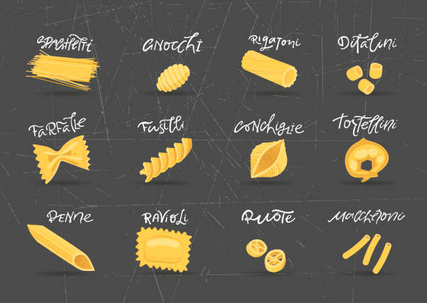 Vector collection of various hand-drawn pasta. For packaging and menu design. Vector collection of various hand-drawn pasta. For packaging and menu design. tortellini stock illustrations