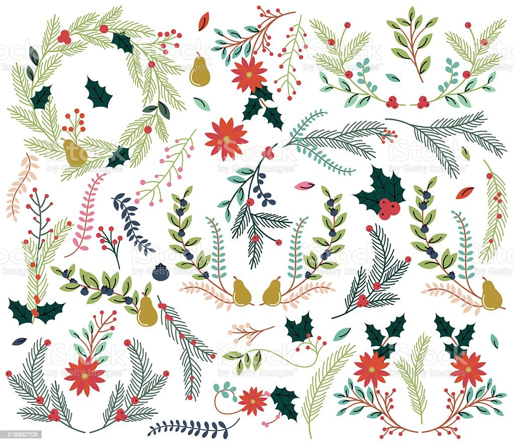 Vector Collection of Vintage Style Hand Drawn Christmas Holiday Florals vector art illustration