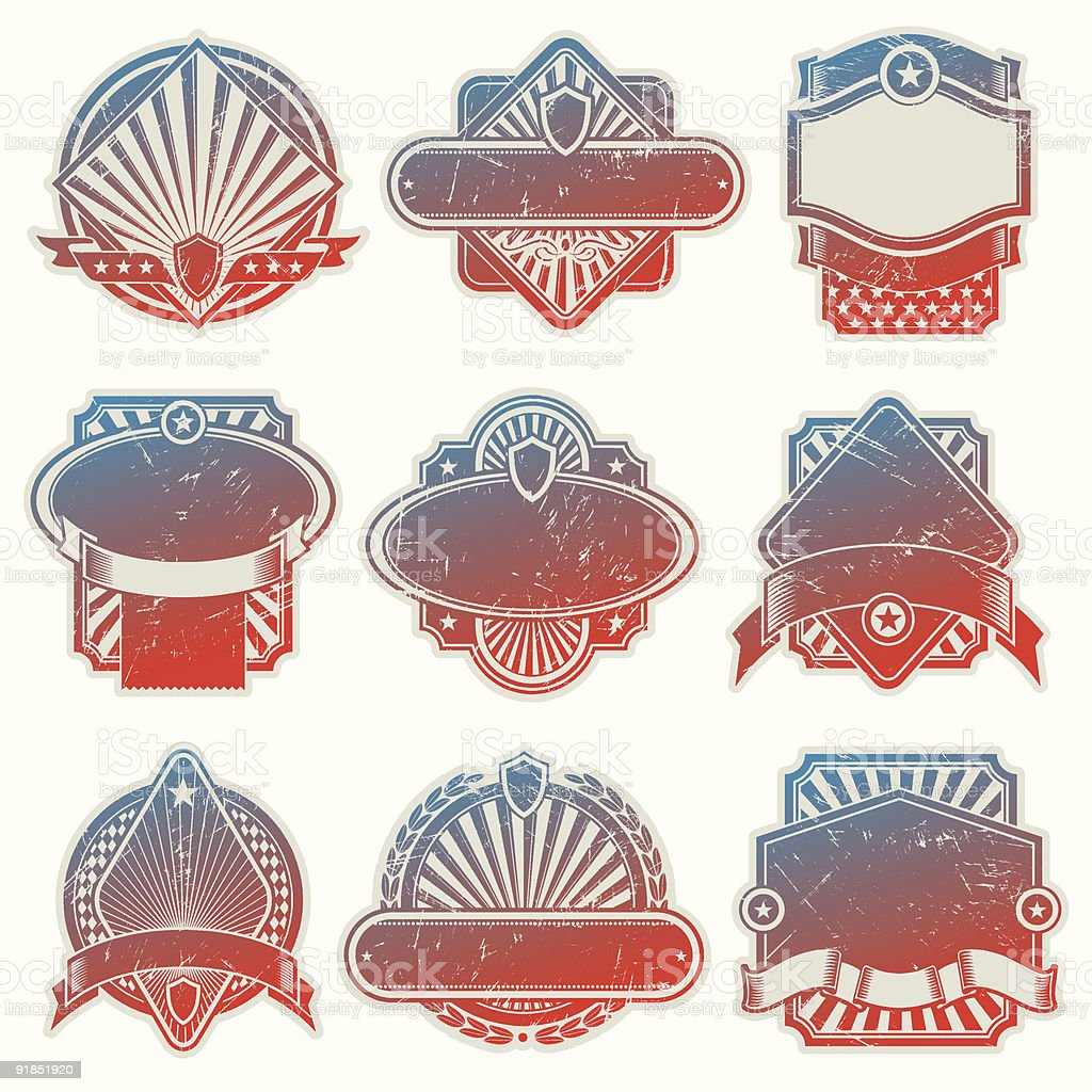 Vector collection of vintage usa labels royalty-free stock vector art
