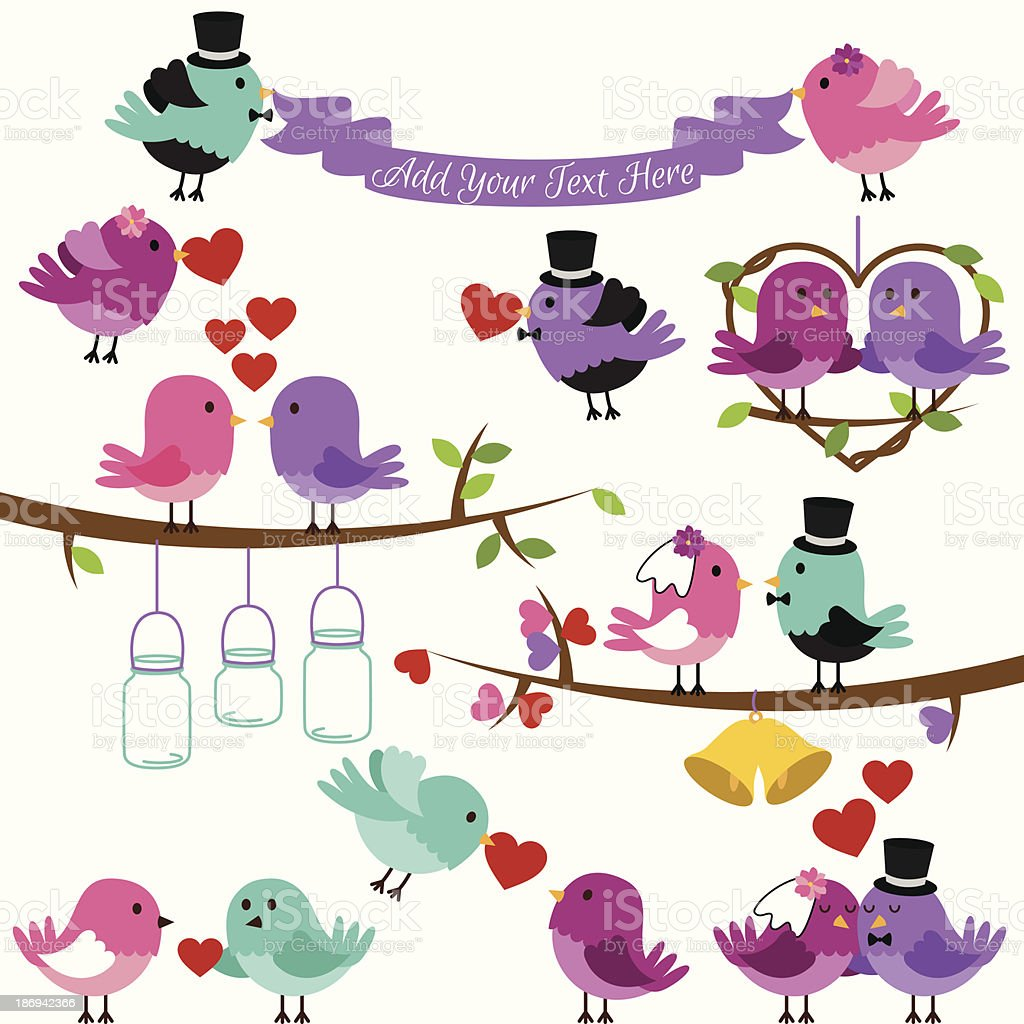 Vector Collection of Wedding and Love Themed Birds royalty-free stock vector art