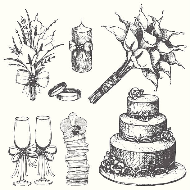 Vector collection of wedding hand drawn elements isolated on white Vector collection of wedding hand drawn elements isolated on white wedding cake stock illustrations