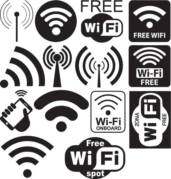 vector collection of wi-fi symbols - wireless technology stock illustrations, clip art, cartoons, & icons