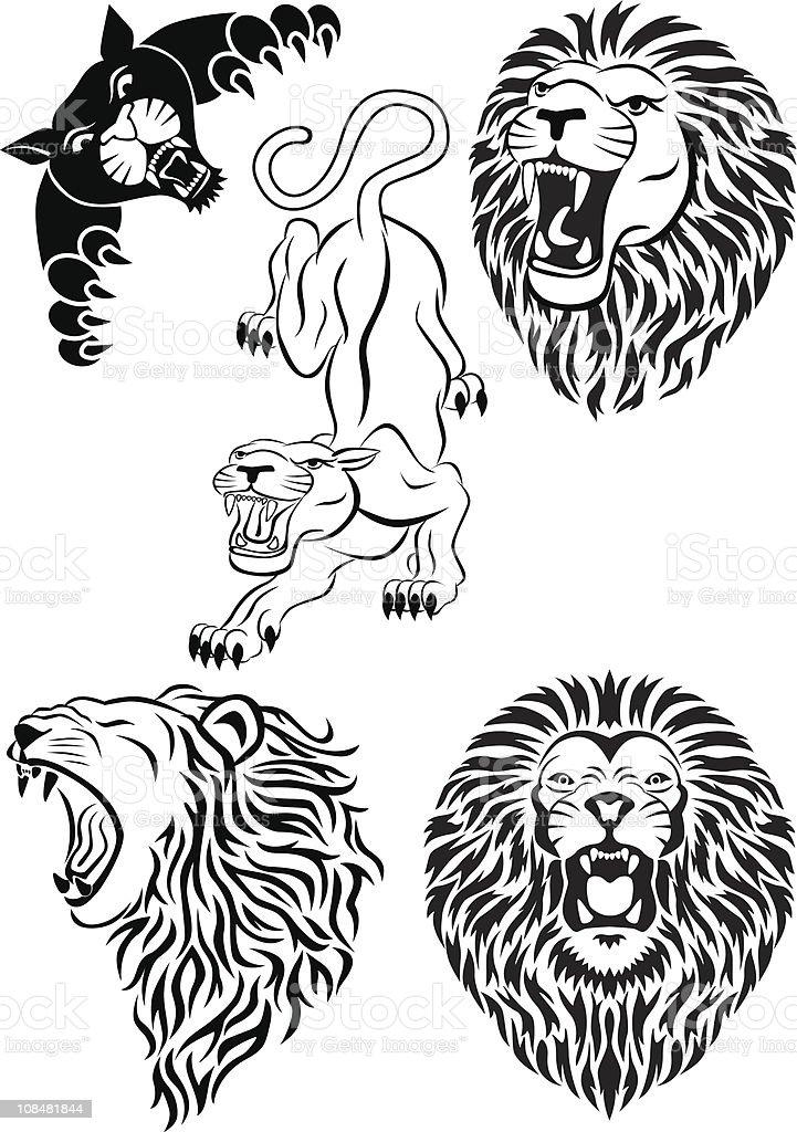 Vector collection of wild animal tattoo stock vector art for Wild zero tattoo