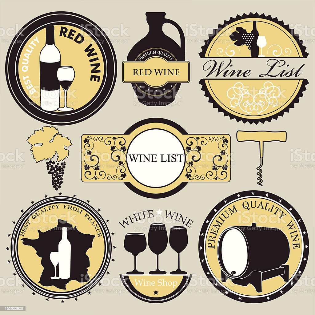 Vector collection of Wine icons with vintage design royalty-free stock vector art