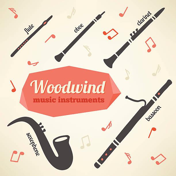 wektor kolekcja woodwind instrumenty muzyczne - klarnet stock illustrations