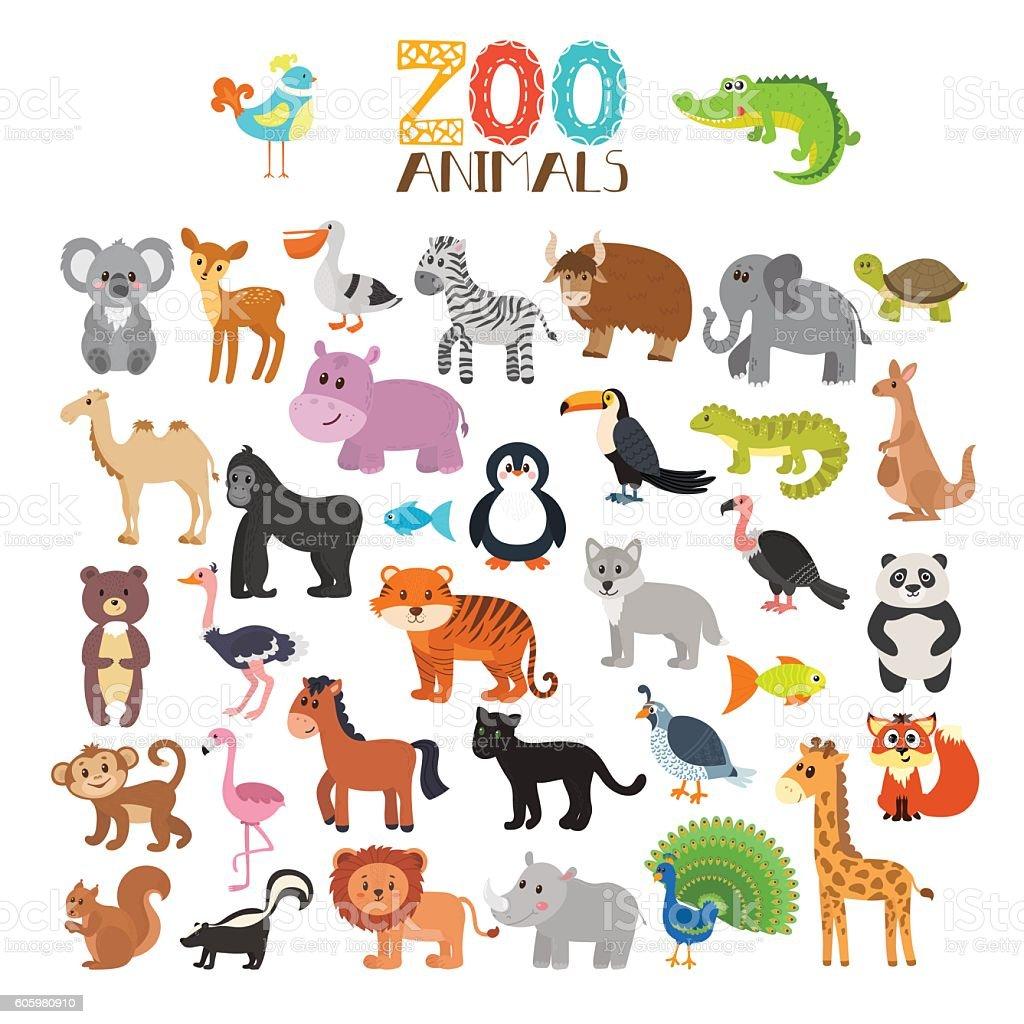 Vector Collection Of Zoo Animals Set Of Cute Cartoon ...
