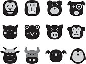 vector collection set of animal faces