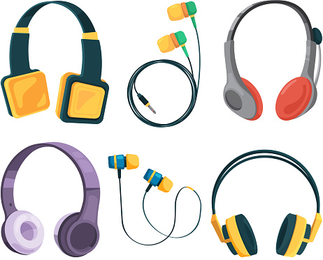 Vector collection set of different headphones. Illustrations in cartoon style. Equipment headset and stereo headphone, gadget accessory