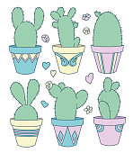 Vector collection set with cute cartoon bunny ear cactus plants in flower pots, flowers and hearts