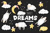 istock Vector collection with cute hand drawn cartoon clouds, moon, stars and sheeps isolated on black background. Illustration for print, fabric, wallpaper, card, baby room decoration 1314686703