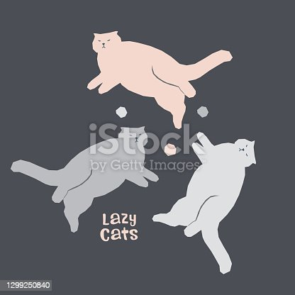 Vector collection with fat lazy lying cats