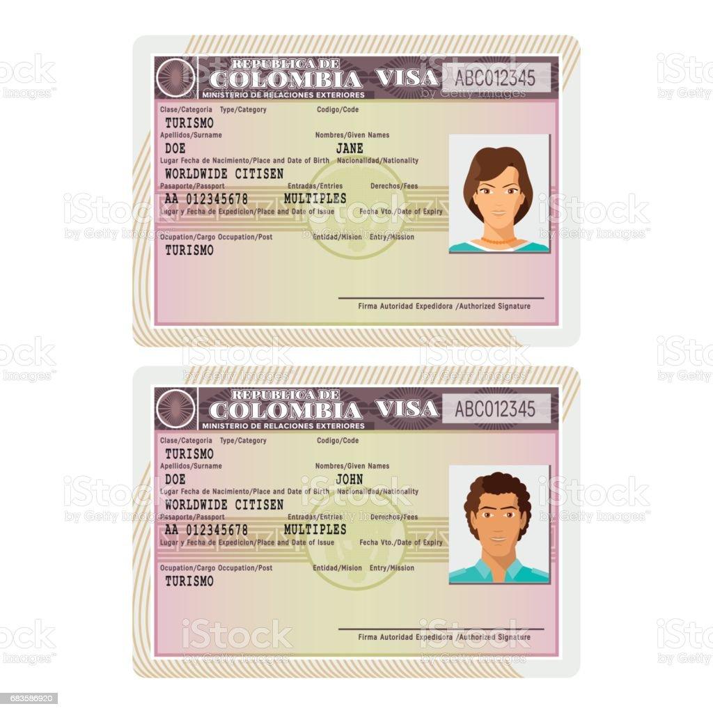 Ilustración de Vector Plantilla De Etiqueta De Visa Colombia ...