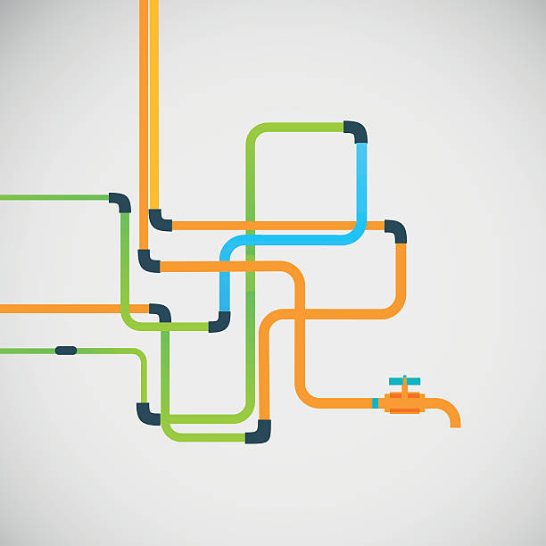 vector color abstract design tangled pipes eps - flange stock illustrations, clip art, cartoons, & icons