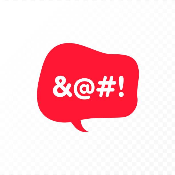 ilustraciones, imágenes clip art, dibujos animados e iconos de stock de ilustración del icono del lenguaje de voz incorrecto de color vectorial. burbuja de conversación roja con texto censurado aislado sobre fondo transparente. elemento de diseño para banner de odio, póster, web, meme, logotipo - middle finger