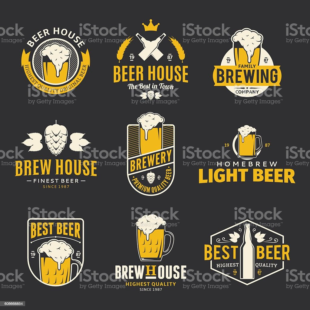Vector color beer labels, icons and design elements vector art illustration
