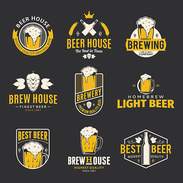 Vector color beer labels, icons and design elements​​vectorkunst illustratie