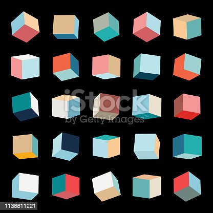 Vector color box pattern cube collection