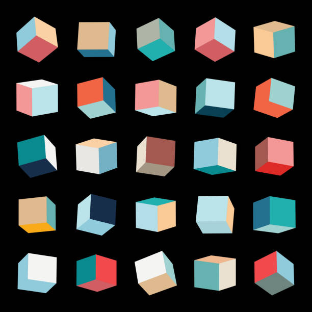 Vector color box pattern cube collection Vector color box pattern cube collection three dimensional stock illustrations