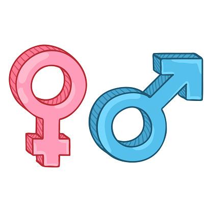 Download Vector Color Cartoon Gender Symbols Blue Male And Pink ...
