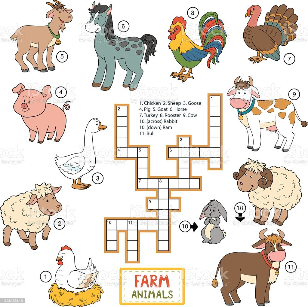 Game with shapes of different colors crossword - Vector Color Crossword About Farm Animals Royalty Free Stock Vector Art